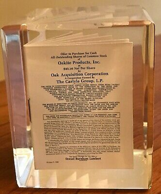 Lucite Financial Tombstone Drexel Burnham Lambert Common Stock Oak Acquisition