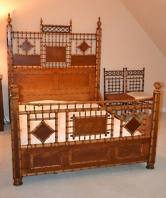 GORGEOUS Antique1890's Birdseye Maple Faux Bamboo Victorian Bed Frame Full Size