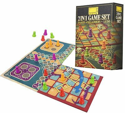 2 in 1 Traditional Board Game Set - Snakes & Ladders and Ludo - Family time game