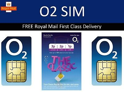 O2 Sim Card - New and Sealed Only 20p Classic O2 Pay As You Go 02 O2 PAYG