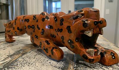 "Hand Carved & Painted Wooden Animal Tiger Figure Toy Statue 18"" Length"