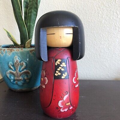 8'' Kokeshi Doll /Japanese Art/ Handmade / Wood Carved Girl Doll