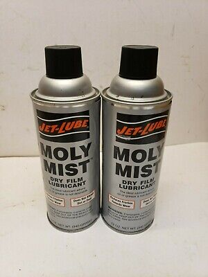 Lot 2 Jet-Lube 16041 Dry Film Lubricant Moly Mist 12 oz. net wt. Aerosol Can
