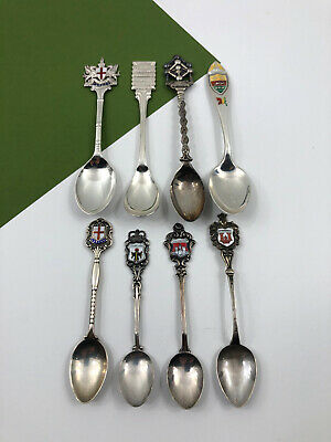 8 Vintage Sterling Silverplate Souvenir Spoons London Quebec Atomium Munchen
