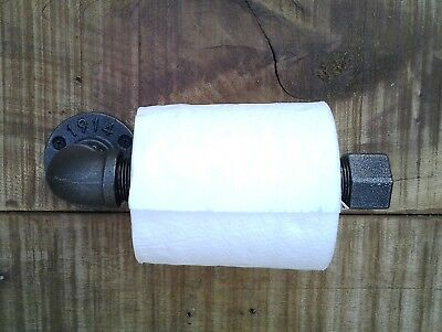 Industrial Style Steampunk Toilet Roll Holder Made From Cast Iron Pipe Free P&P