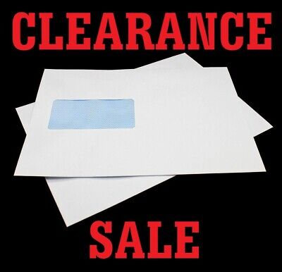 500x White C5 Envelopes - 90gsm Gummed Seal Window HIGH QUALITY Post Postal