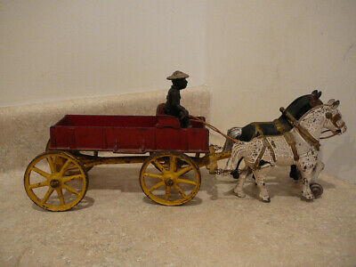 Antique Cast Iron Kenton Toy Horse Drawn Farm Wagon African American Driver