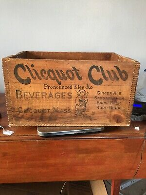 antique Divetailed Beverage Crate Clicquot Club. Pronounced Klee Klo