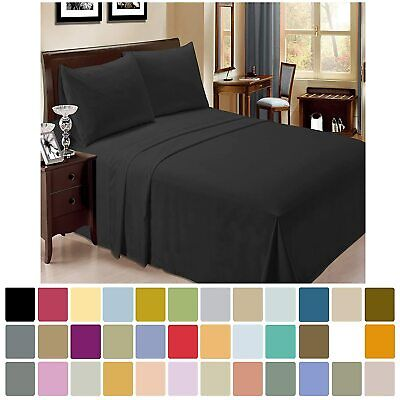 Egyptian Microfibre Bed Sheet Set 4 PCS Flat Fitted Queen King Double Single AU