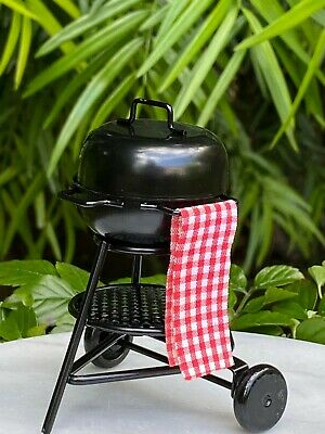 Miniature Dollhouse FAIRY GARDEN ~ Mini Black Metal Cookout Barbeque BBQ Grill