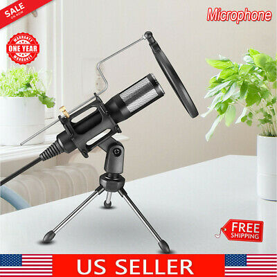 USB Condenser Microphone w/ Tripod Stand Audio Studio Recording For PC Game Chat