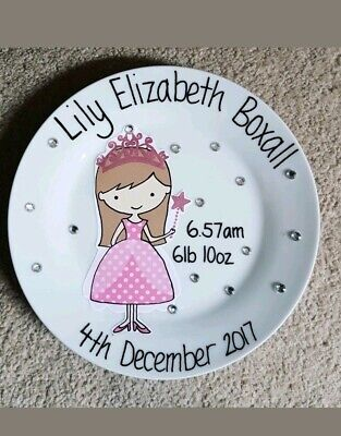 Personalised Girls Birth Plate. New Baby. Christening