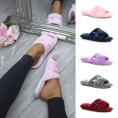 Womens ladies bow lounge spa peep toe indoor mules summer slippers sandals size
