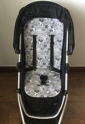pram liner pushchair buggy stroller Mickey Mouse cotton grey fleece