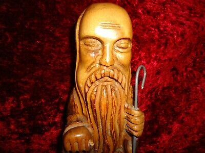 Nice Rare Antique Chinese Hand Carved Boxwood Lamp Lighter Statue Figurine