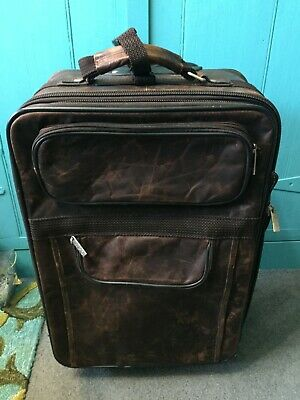 Vintage Apc Wheeled Carry-On Luggage W /Distressed Brown Leather & Garment Bag