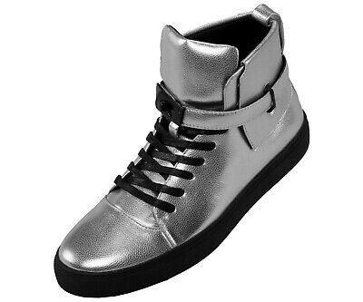 Mens Metallic Pebble Grain High Top Sneaker, Lace Up Casual Shoes with Strap