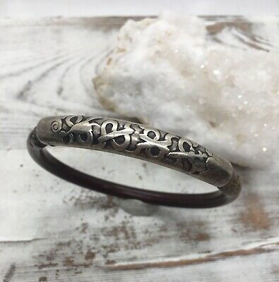 Antique 1920s Chinese Sterling Silver Large Bamboo Bangle Bracelet