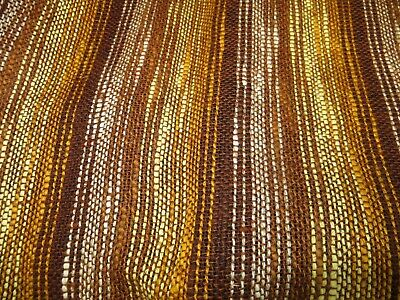 """Vintage Woven Striped Upholstery Fabric - Orange Yellow Brown - 49 """"w x 46"""" l"""