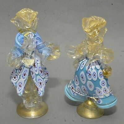 Pair 1940s Italian Venetian Murano Art Glass Man Lady Figures Blue w/ Millefiori