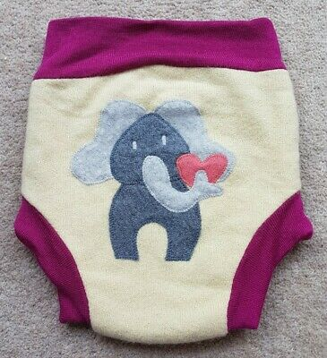 1 x  Wool nappy cover with cute elephant on  back New