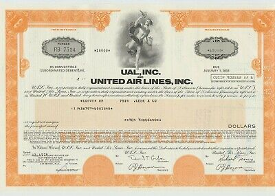 UAL, Inc. & United Air Lines Bond Stock Certificate