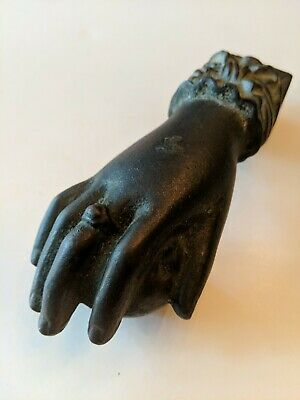 Antique 1890s Cast Iron door Knocker Lady's Hand Lace Cuff Victorian Lady Ball