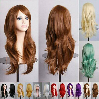 70cm Long Womens Girl Wavy Curly Hair Synthetic Full Wigs Party Cosplay