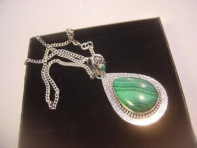 "Solid Silver 20"" Curb Chain & Amazing Designer Pendent-Real Malachite-Intricate"