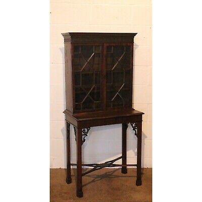 A Quality C19th Carved Mahogany Glazed Cabinet on Stand Manner of Chippendale