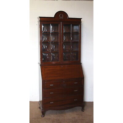 Edwardian Mahogany Bureau Bookcase with Fitted Interior & Cushioned Glass Doors