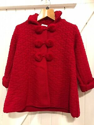Spanish Style Girls Age 2-3 Years Knitted Coat & Hat Red Fully Lined traditional