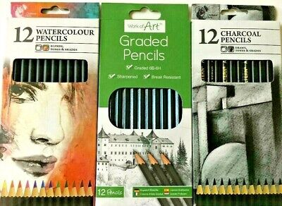 12 Artist Pencils Set Water Colour/Graded Sketching/Charcoal Drawing Art Craft