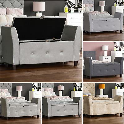 Seville Storage Ottoman Seat Stool Bench Pouffee Toy Box Bedroom Trunk  Chest