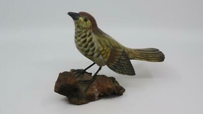 Carved Wooden Hand Painted SPARROW? Bird Figurine On Wood Branch Base Unsigned