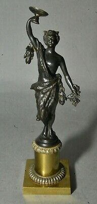 Antique French Classical Bronze Statue of Satyr Bacchus w/ Wine Goblet & Grapes