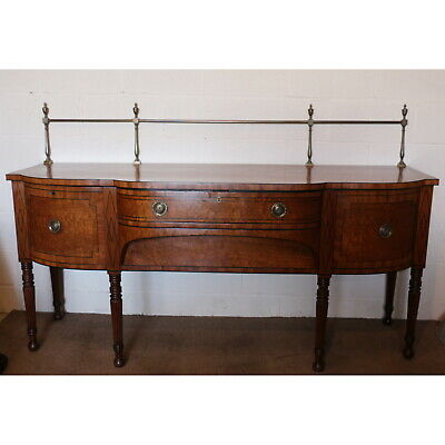 A Regency Country House Inlaid Mahogany Bow Fronted Sideboard with Brass Gallery