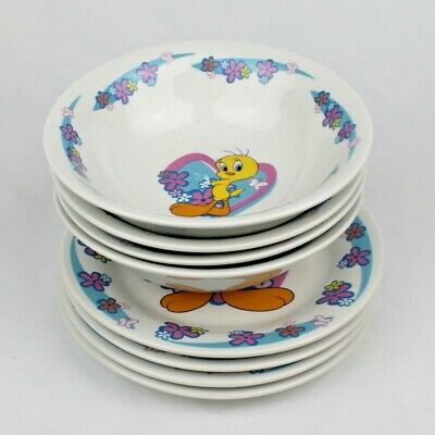 "4 Gibson Looney Tunes Tweety Bird Cereal Bowls & 7"" Plates - Hearts & Flowers"