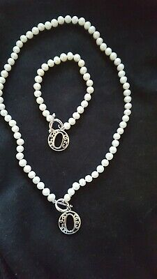 Pearl Necklace 16 inch and Bracelet 6 inch  Matching Set