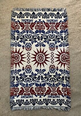 Colorful old American Folk Art Child Size Coverlet Two Sided