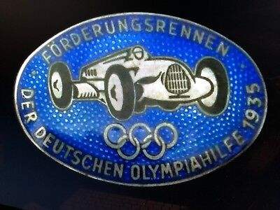 Vintage Auto Union 1935 Type C Enamel Lapel Pin, for 1936 Olympic Games Berlin