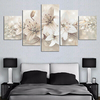5 Pieces Wall Art Canvas Painting Hanging Home Decor Beautiful Flower Crafts