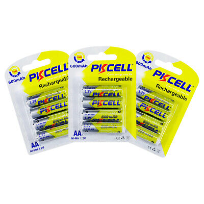 12Pcs AA Rechargeable Battery 600mAh 1.2V NIMH For Solar Light Toys PKCELL