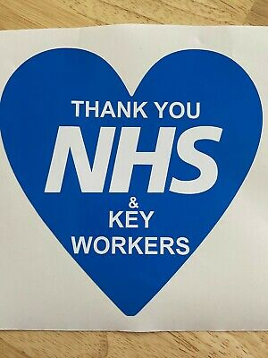 Blue Heart Window or Wall Sticker Thank You NHS & Key Workers 10% Donated toNHS