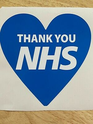 Blue Heart Window or Wall Sticker Thank You NHS  10% Donated to NHS