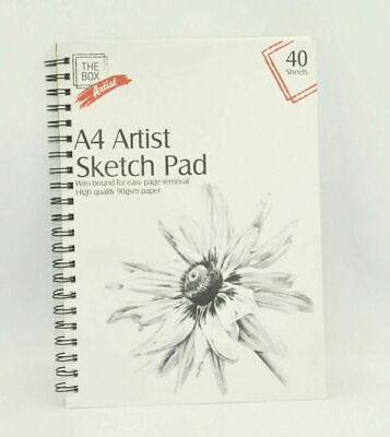 White A4 Artists Sketch Pad Drawing Pads Artist Spiral Bound 40 Page Book