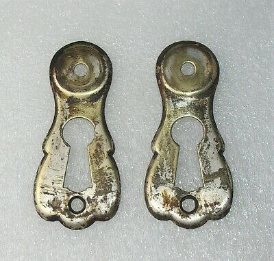 2 Antique Vintage Key Hole Plates Covers Escutcheons Reclaimed Salvaged Hardware