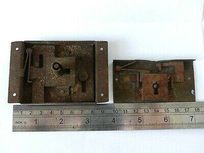 2 x Large Antique 19th Century French Box / Casket / Table / Cabinet Locks