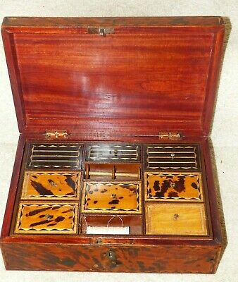 Large Antique Anglo Indian faux Tortoiseshell Inlaid Jewellery Box / Casket+Tray