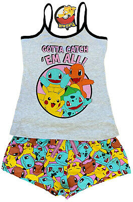 Ladies Short Pyjamas Pokemon Ex Uk Store 4-20 Vest Top Short Night Wear Pj Set
